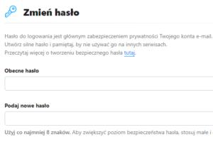Widok panelu ustawień konta o2.pl