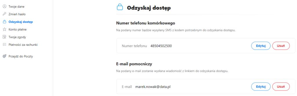 Zmiana ustawień opcji odzyskiwania hasła w Poczcie O2.pl.