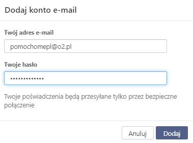 Poczta home.pl - Dodaj konto e-mail - Wpisz adres e-mail i hasło dostępu.