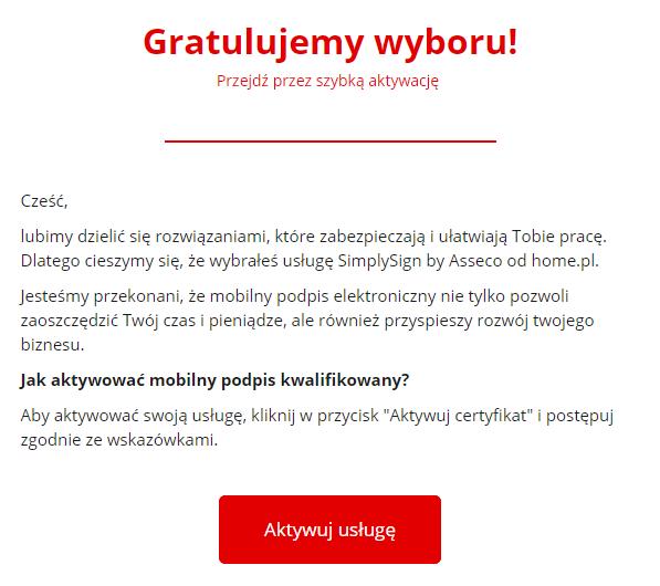 Podpis elektroniczny SimpleSign w home.pl