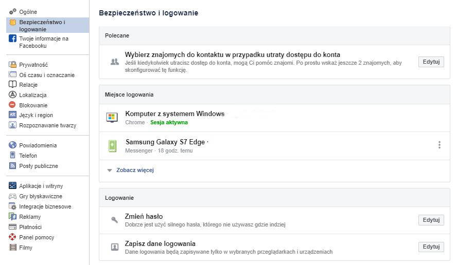 Jeśli chcesz zmienić hasło do konta Facebook, kliknij przycisk: Edytuj przy sekcji: Zmień hasło.