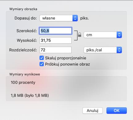 Zmiana rozmiaru zdjęcia w aplikacji Podgląd macOS