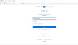 Konsola logowania Microsoft Outlook