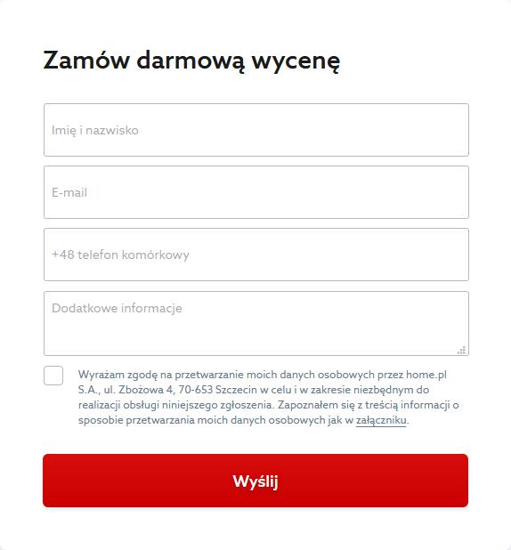 Formularz - darmowa wycena stworzenia strony WWW