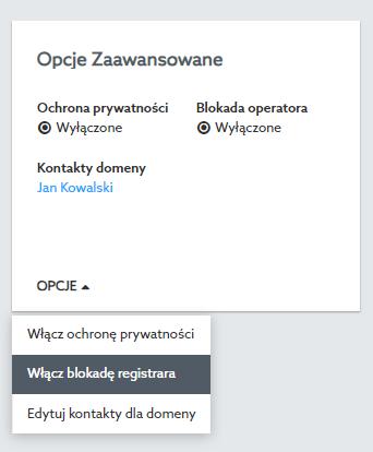 Ustawienie statusu clientTransferProhibited przy domenie globalnej w Panelu klienta home.pl.