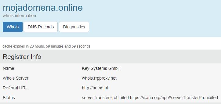 Statusy domeny globalnej w bazie WHOIS.