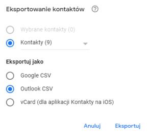 Eksport kontaktów do pliku CSV