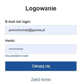 Okno logowania do Poczty Gazeta.pl. Zmiana hasła do Poczty Gazeta.pl.