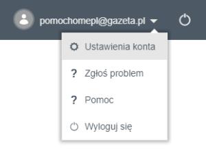 Poczta gazeta.pl - widok ustawień konta poczty