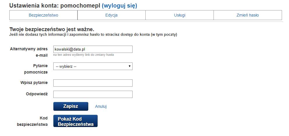 Poczta gazeta.pl - zakładka bezpieczeństwo - włącz reset hasła.