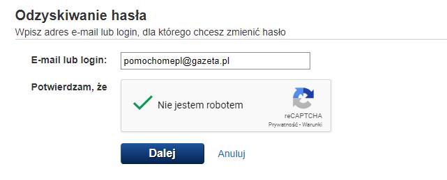 Zmiana hasła do poczty gazeta.pl - podaj dane konta.