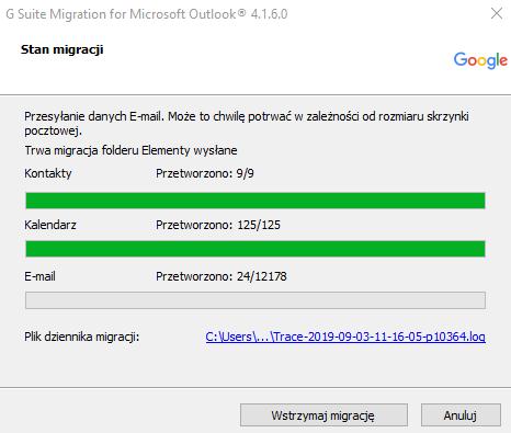Importowanie danych do konta G Suite - stan migracji.