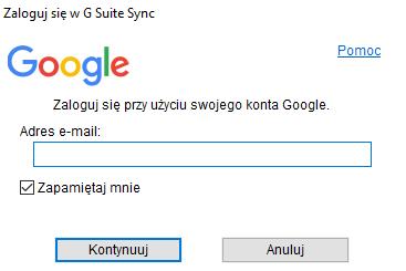 Synchronizacja G Suite z Outlook 2019 - zaloguj się do konta Google.