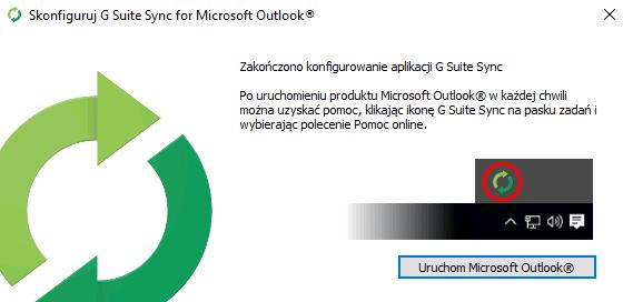 Zakończono konfigurowanie aplikacji G Suite Sync. Uruchom G Suite z Outlookiem.