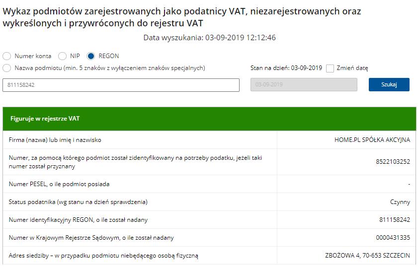 home.pl znajduje się na białej liście podatników VAT prowadzonej przez Ministerstwo Finansów.