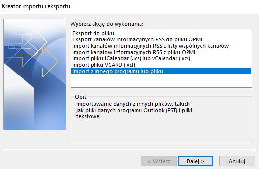Import kontaktów z Gmail do Outlooka - importuj z innego programu lub pliku.