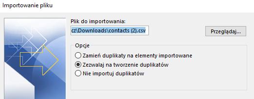 Importowanie kontaktów do Microsoft Outlook z pliku - wskaż plik do importowania.
