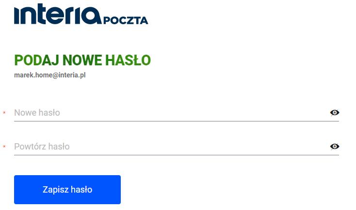 Zmiana hasła do skrzynki e-mail w Interia.pl. Podaj nowe hasło dostępu do konta pocztowego.