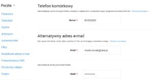 Opcje zmiany hasła konta Interia