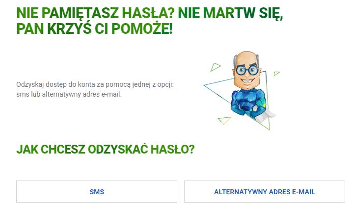 Wybierz metodę odzyskania hasła dostępu do skrzynki e-mail w Interia.pl.