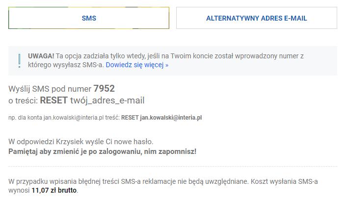 Wyślij SMS, aby zmienić hasło do konta pocztowego Interia.pl.