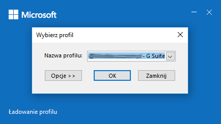 Synchronizator G Suite w Outlook - wybierz profil w Microsoft Outlook.