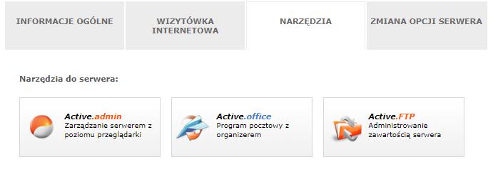 Kliknij opcję: Active.admin, aby przejść do zarządzania serwerem w nazwa.pl.