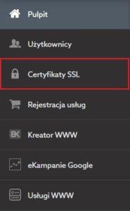 Nowy panel klienta home.pl - menu - SSL