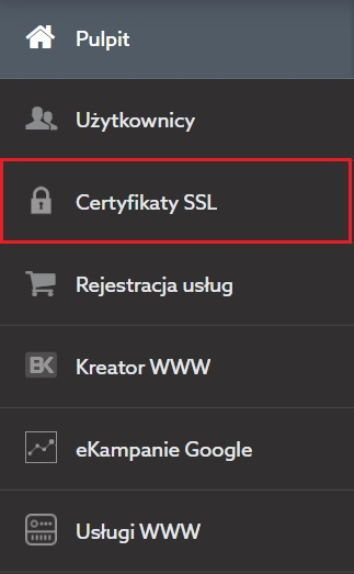 Nowy panel klienta home.pl - menu - SSL