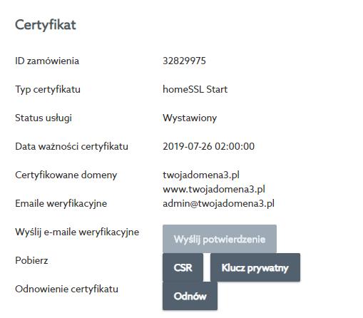 Kliknij przycisk: Odnów, aby zainicjować proces przedłużania ważności certyfikatu SSL w home.pl.