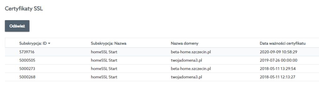 Aby przedłużyć ważność certyfikatu SSL na kolejny rok, przejdź do listy SSL w Panelu klienta home.pl.