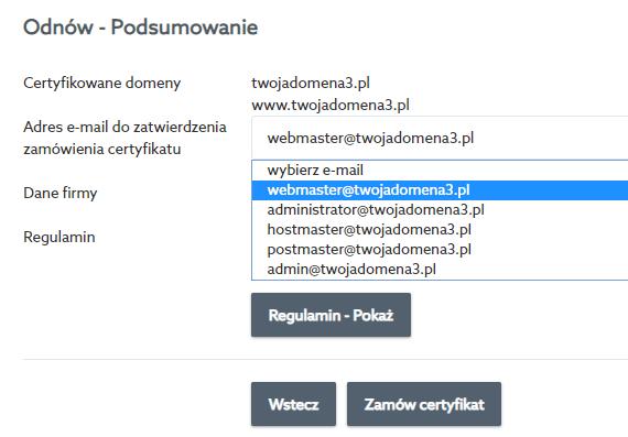 Adres e-mail do weryfikacji zamówienia certyfikatu SSL