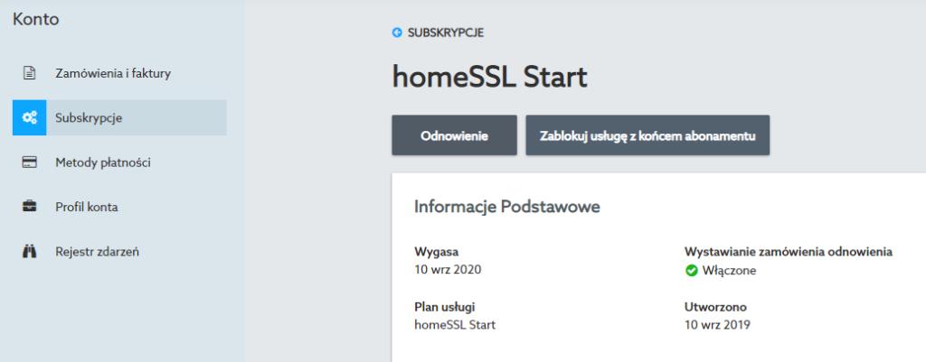 Przejdź do sekcji menu: Konto -> Subskrypcje, aby odnowić certyfikaty SSL w home.pl.
