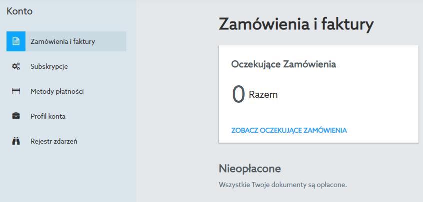Przejdź do sekcji menu: Konto -> Zamówienia i faktury, aby opłacić zamówienie na przedłużenie SSL w home.pl.