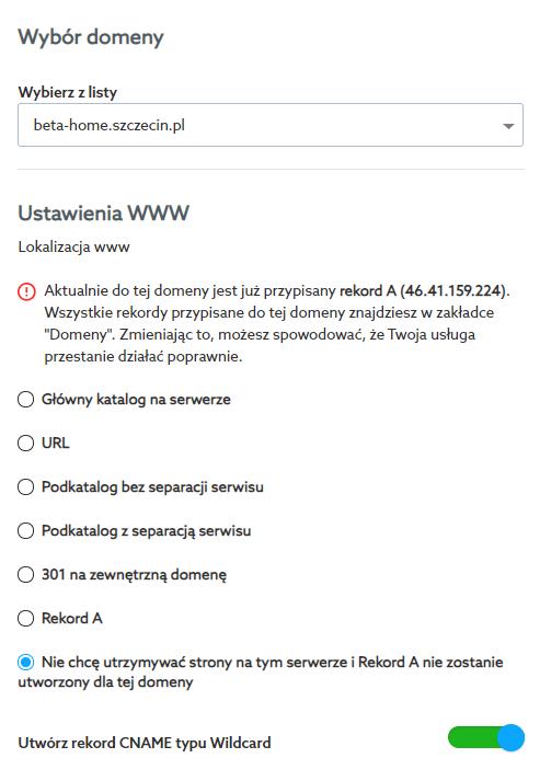Przypisanie domeny do hostingu poczty