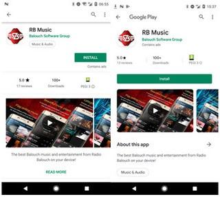 złośliwa aplikacja Radio Balouch w Google Play