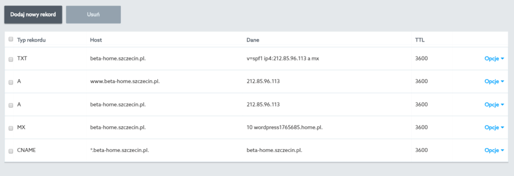 Tworzenie rekordu SPF dla domeny