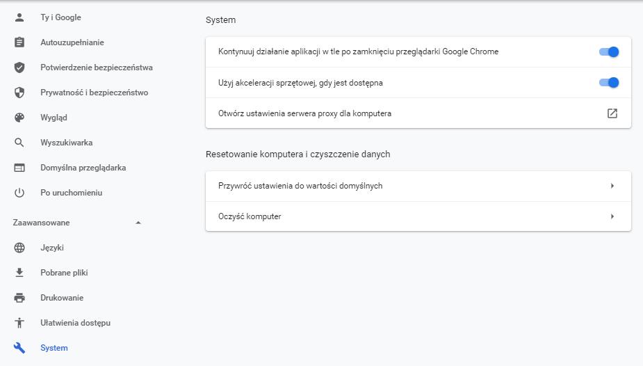 Komunikat w przeglądarce: ERR_CONNECTION_REFUSED