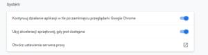 Ustawienia PROXY Google Chrome