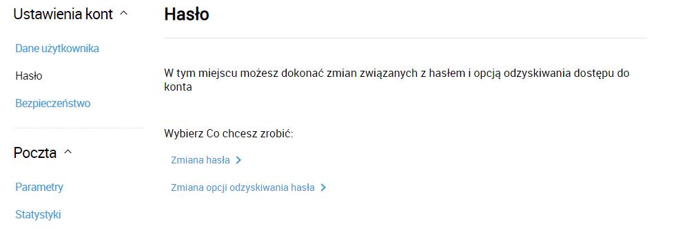 Zmiana hasła do Poczty Interia.pl. Kliknij opcję: Zmiana hasła, aby rozpocząć zmianę hasła do skrzynki e-mail.