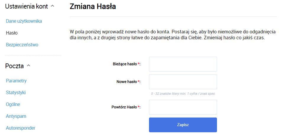 Aby zmienić hasło do skrzynki e-mail w Interia.pl, wpisz bieżące hasło oraz wskaż nowe hasło.