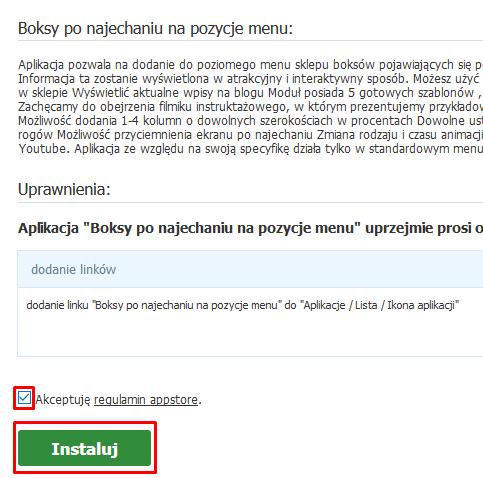 Zaakceptuj warunki regulaminu Appstore i kliknij przycisk: Instaluj.