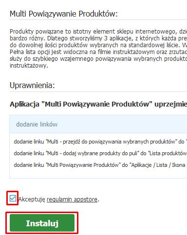 Zaakcpetuj warunki regulaminu Appstore i kliknij przycisk: Instaluj.