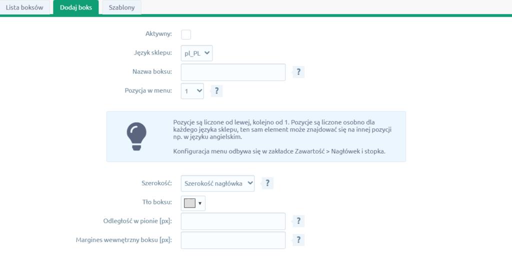 Aby dodać nowy boks w aplikacji: Kontakt w menu, kliknij przycisk: Dodaj boks.