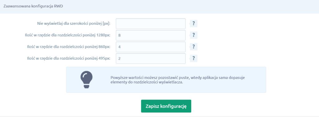 Kliknij przycisk: Zapisz konfigurację, aby zapisać wprowadzone zmiany w aplikacji: Instagram Widget.