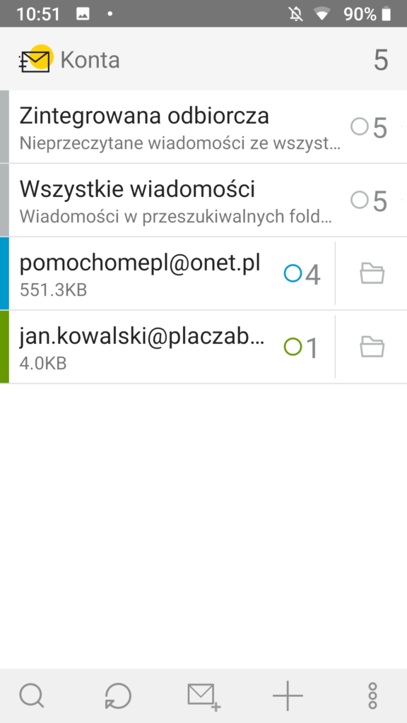 program do obsługi poczty Onet Poczta na urządzeniu Android