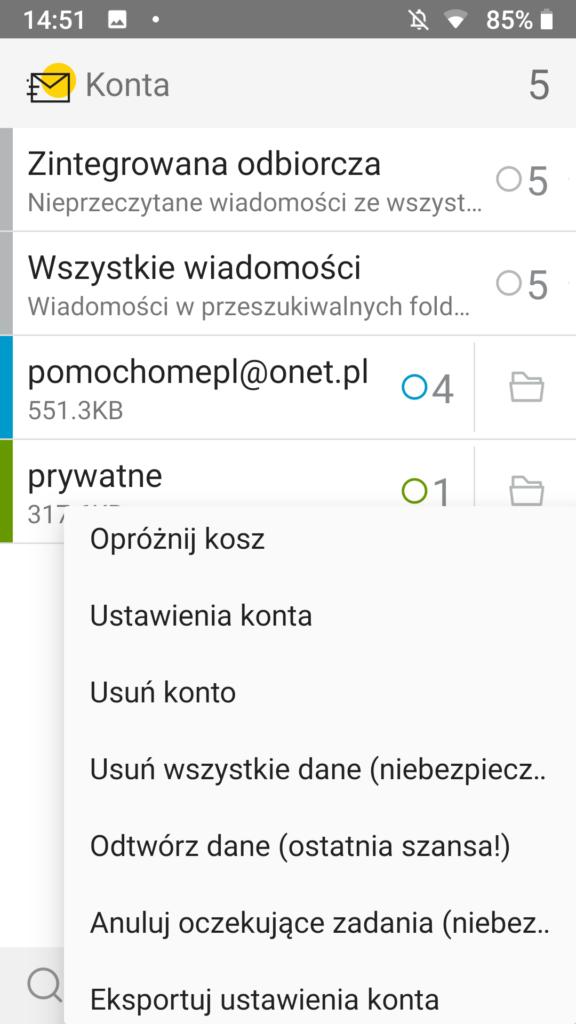 Kasowanie skrzynki e-mail w aplikacji pocztowej na urządzeniu Android