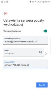 Ustawienia serwera poczty wychodzącej w Gmailu