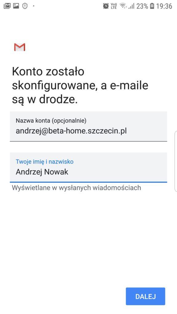 Ustawienia profilu konta imię i nazwisko w aplikacji Gmail
