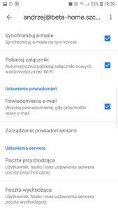 Ustawienia serwerów poczty wychodzącej i przychodzącej Gmail